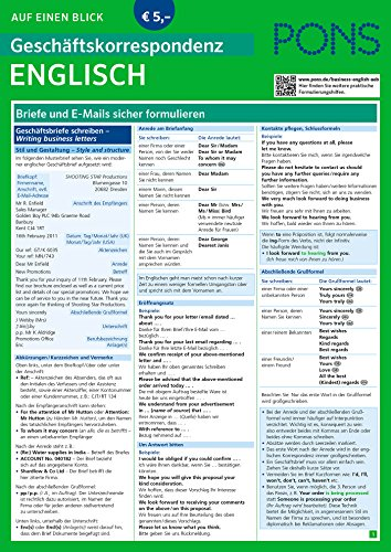 PONS Geschäftskorrespondenz auf einen Blick Englisch: Briefe und E-Mails sicher formulieren (PONS Auf einen Blick)