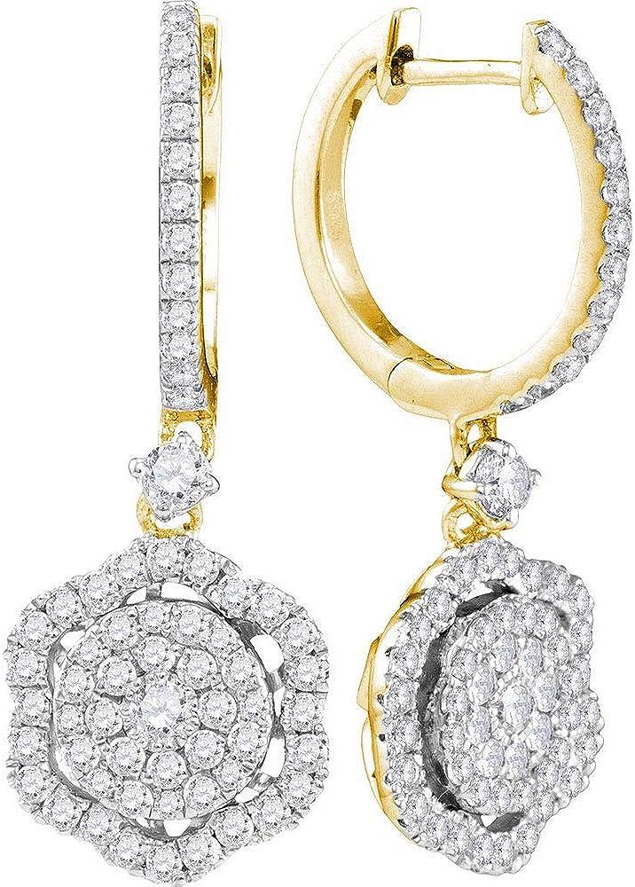 shop 14kt Yellow Gold Womens Inexpensive Round Diamond Cluster Cut Frame Hexagon