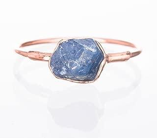 Raw Sapphire Ring, Rose Gold, Size 7, September Birthstone,14k Rose Gold Filled