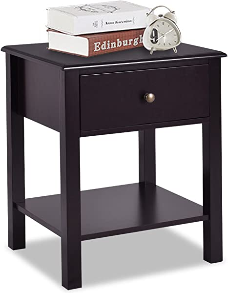 Giantex Nightstand W Drawer And Shelf Stable Frame Storage Cabinet For Bedroom Modern Beside Sofa Accent Table Brown End Table 1