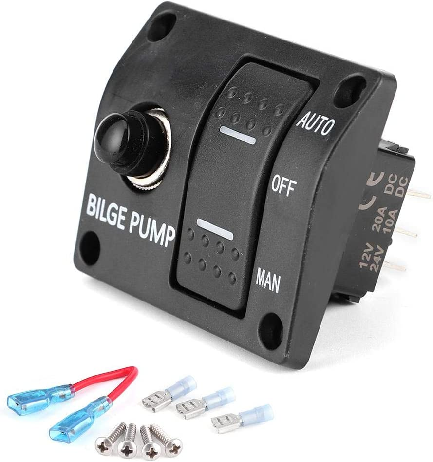 3 Way Bilge Pump Switch Panel 12V High quality LED Manual I with 24V Off Auto Max 59% OFF