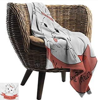 Davishouse Yorkie Blanket Sheets Cute Puppy with Hair Buckle Yorkie Terrier Animal Ribbon Cartoon Character Print Sofa Chair 60