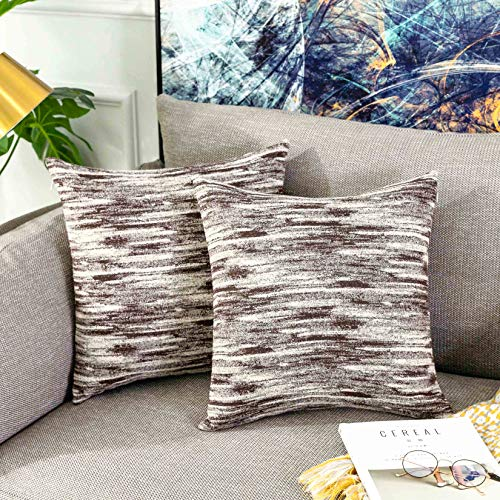 Home Briiliant Tan Pillow Covers Decorative Modern Accent Pillowcases for Bed Room Boy Toddler, Set of 2, 45cm x 45cm(18 x 18 inches), Brown