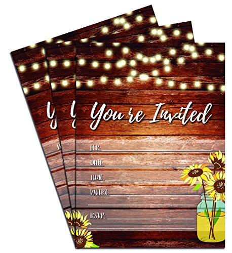 Country Mason Jar & Sunflowers Party Invitations on a Rustic Wooden Background with Envelopes (Pack of 25)