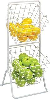 mDesign rangement cuisine à 2 niveaux – panier à fruits, légumes et autres aliments déplaçable – paniers de rangement auss...
