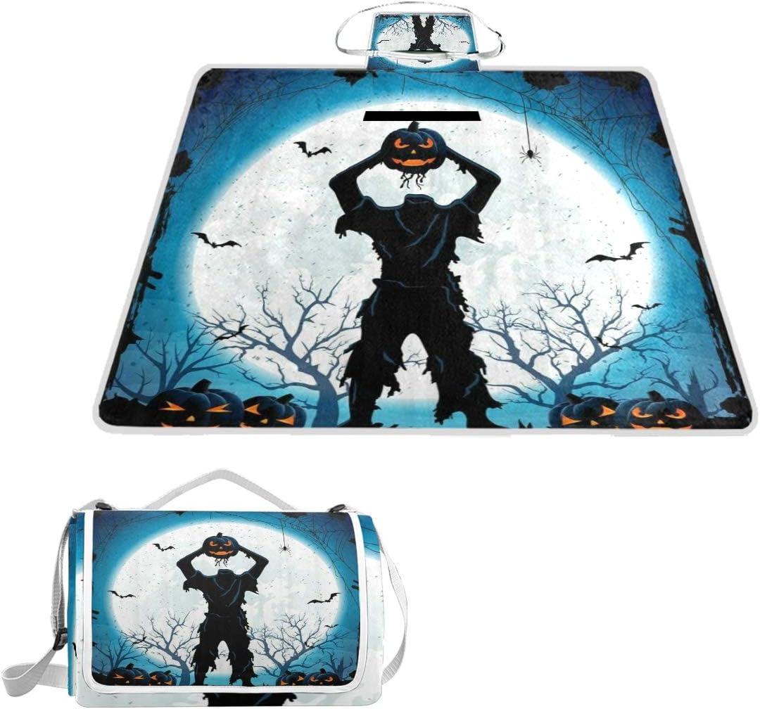 MATEKULI Max 42% OFF Outdoor Picnic Blanket Halloween Man Headless H Pumpkin New Orleans Mall