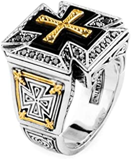Konstantino ROYAL MALTESE CROSS Sterling Silver and Gold Mens Ring