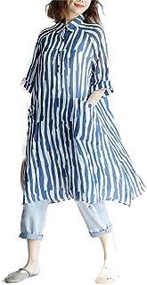 [桃の花] ワンピース レディース 春 夏 棉 Aライン ゆったり 膝丈 シャツワンピース 半袖 ロング丈 シャツ シャツワンピ シンプル ストライプ チュニック 着痩せ