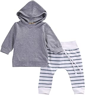ALLAIBB Newborn Baby Autumn&Spring Cotton 2pcs Sets Hooded Sweater and Lace Stripe Pants