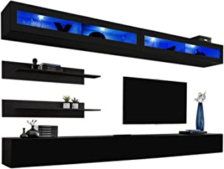 MEBLE FURNITURE & RUGS Wall Mounted Floating Modern Entertainment Center Fly I (Black, I2)