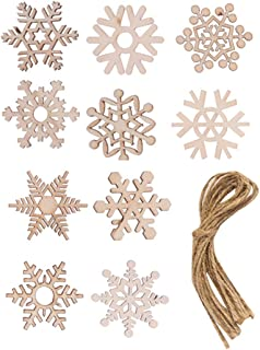 SUPVOX 50pcs Wooden Snowflakes Wooden Christmas Tree Decorations Ornaments Tags Christmas Holiday Party Favors Gifts with ...