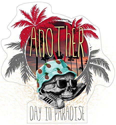Aufkleber Another Day in Paradise Sticker Skull Palmen Fun Surfer Südsee Surfbrett Hawaii Skater Sakteboard Boarder Auto Camper Wohnwagen Bulli