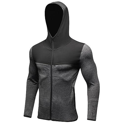 b301b932a4e2 Jessie Kidden Men s Quick-Dry Gym Workout Hoodie Jacket Sports Running  Sweatshirt  9003