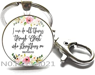 Jephne Philippians 4:13 I can do all things through Christ Bible Verse Keychain Key Ring Jewelry gifts of Christian Inspiration.XT133 (A)