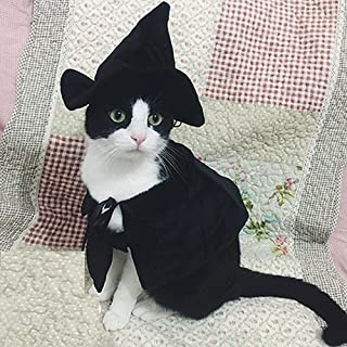 Lanyar Cute Hooded Cloak Witch/Wizard Costume for Dogs & Cat Kitten, Cat Costume Pet Cosutmes