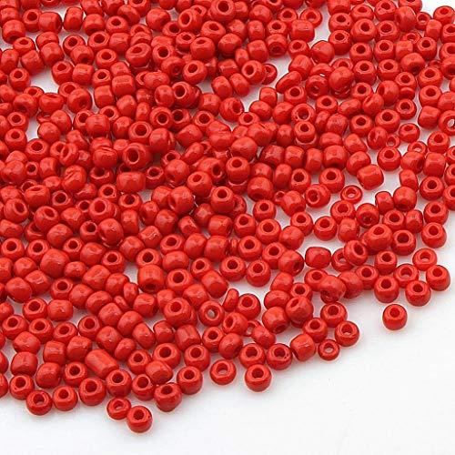 3.300 unidades de cuentas de cristal opaco, 3 mm, mate, 8/0, perlas Pony, perlas opacas ahumadas, color a elegir (rojo)