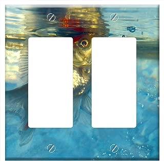 Switch Plate Double Rocker/GFCI - Ryukin Goldfish Fish White Aquarium Aquatic