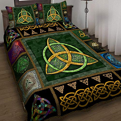 Irish Celtic Quilt Bed Set 1 Bedding Set 3 Pieces Quilt Cover with Pillowcase Cover Soft Comfortable for Kids Parents US Twin Queen King Size