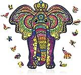 Jooheli Puzzle de Madera Puzzle de Elefante, Puzzle de madera para adultos, puzzle de madera 3D, Puzzle de Colorido de Forma única Puzzle Animales para Adultos y Niños Colección de Juegos Familiares