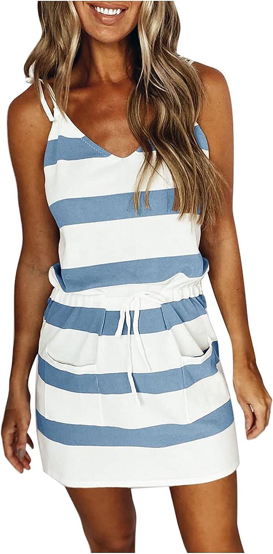 Summer Dresses for Women Casual V Neck Pocket Dress Beach Party Sundresses Stripe Sling Strap Mini Dress with Belt