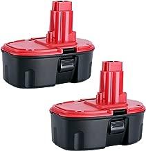 Biswaye 2Pack DC9096 18V Replacement Battery for Dewalt 18-Volt Cordless Power Tools Battery Pack DE9096 DE9098 DW9095 DW9096 DW9098 DE9503 DC9099 DC9098 DE9039 DE9095, Ni-CD