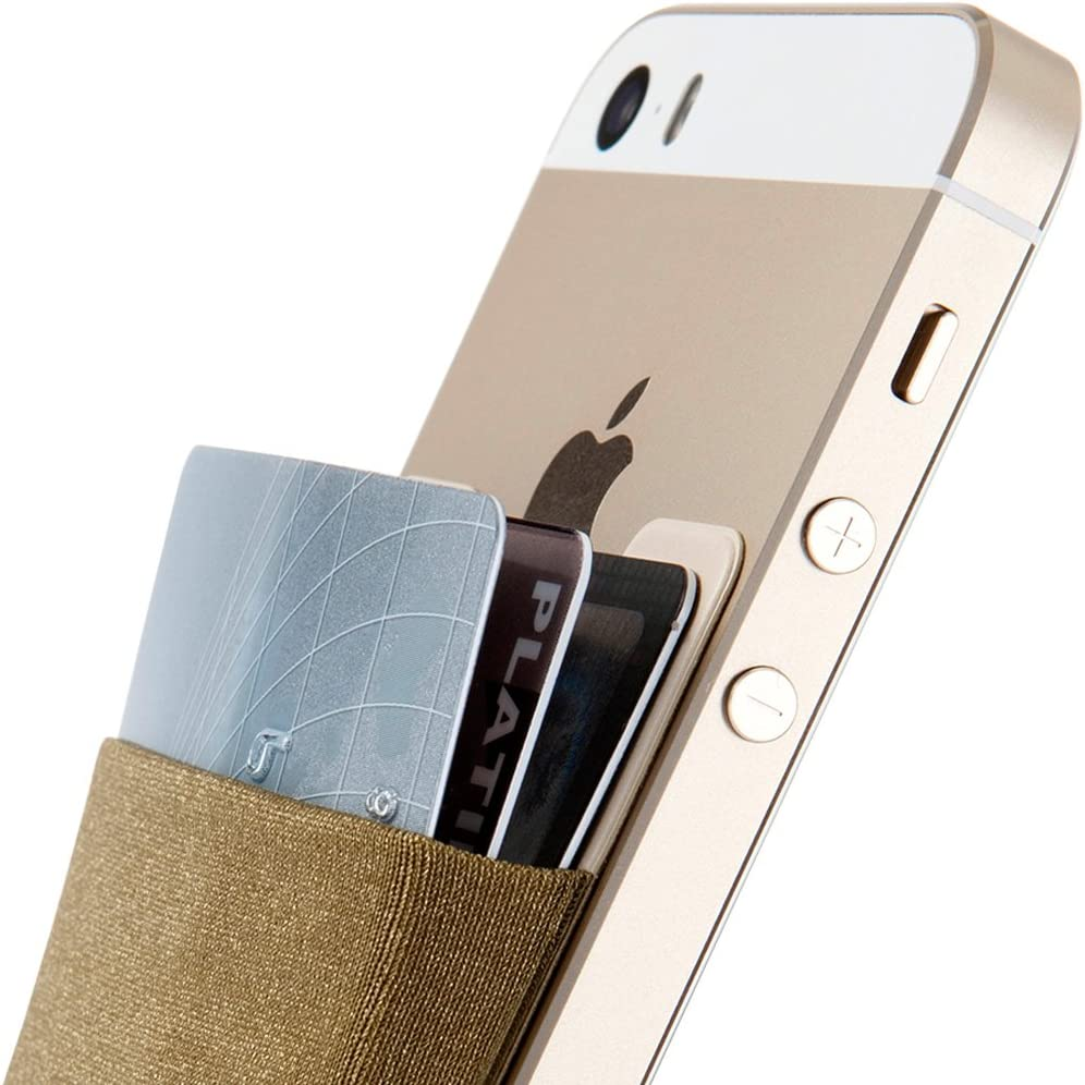 Credit Card Wallet, Sinjimoru Stick-On Wallet Functioning as Wallet case, Credit Card Case on iPhones and Androids. Sinji Pouch Basic 3, Khaki.