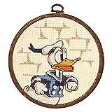 オリムパス製絲 クロスステッチ 刺しゅうキット ディズニー ドナルドダック おしゃれフープ付き ベージュ 7039