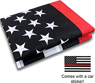Thin Red Line Flag 3x5 Ft with Embroidered Stars, Sewn Stripes and Long Lasting Nylon - Honoring Firefighters and EMTs - Comes with a Bonus Car Sticker