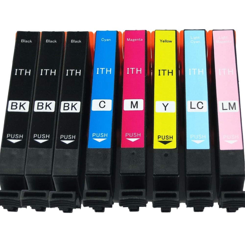 EPSON エプソン ITH-6CL 互換インクカートリッジ ITH-(BK×3/LC/C/LM/M/Y)6CL 合計8本セット ICチップ付 残量表示有イチョウ EP-710A/EP-810AB/EP-810AW/EP-709A/EP-711A/EP-811AB/EP-811AW対応1年保証 (6色+2黒=8個)