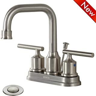 WOWOW Bathroom Faucet 2 Handle Brushed Nickel 4 inch Sink Faucet Two Handle Lead-free Stainless Steel High-Arc Widespread Bathroom Sink Faucet Lavatory Commercial Contemporary with Pop Up Drain