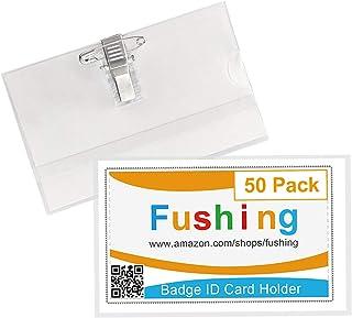 Fushing Lot de 50 badges d'identification en plastique transparent pour cartes de visite avec clip de fixation (horizontal)
