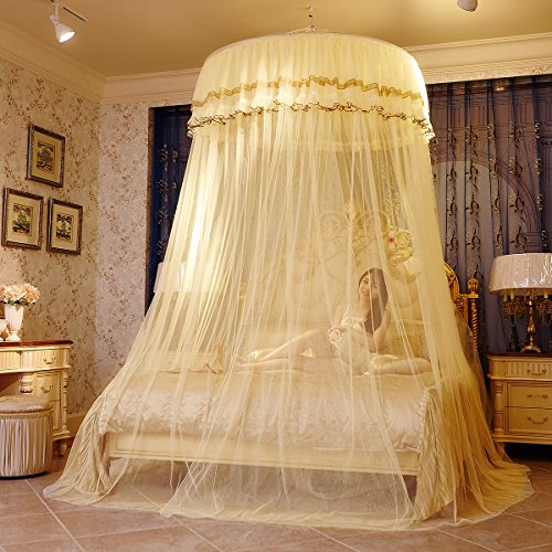 MAGILONA Home Hanging Lace Round Princess Bed Protect Canopies Netting Large Size Mosquito Net Bedding or Outdoors Netting Fit Twin, Full, Queen, King Bedroom Tent (Beige)