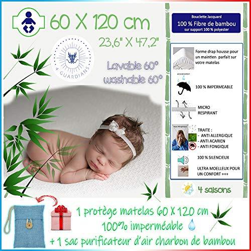 4Guardians 🌙 Matratzenschoner Baby Bett 60x120 Wasserdicht Anti Milben Matratzenbezug 100% Molton Bambus Atmungsaktiv Nässeschutz Babymatratze 60x120cm + 1 Bambuskohle Luftreinigungsbeutel
