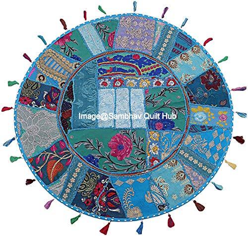 Funda de cojín con diseño bohemio y bordado a mano, color turquesa