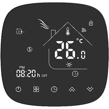 Termostato Inteligente para caldera de gas,Termostato Calefaccion Wifi Pantalla LCD (Panel cepillado) Botón táctil retroiluminado programable con Alexa Google Home and Phone APP-Negro