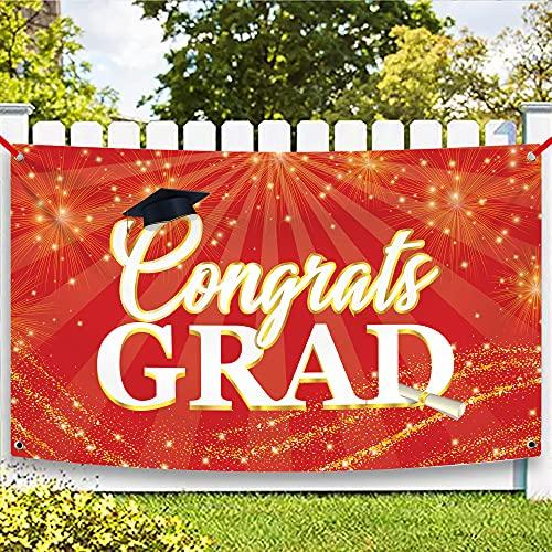 XtraLarge Congrats Grad Graduation Banner, 72x44 Inch - 2021 Graduation Decorations Red and Black | Congrats Grad Banner for College, High School Grad Party | Grad Sign for Class of 2021 Decorations