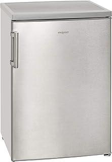 Exquisit KS 16-1 RV AInoxlook / Vollraum Kühlschrank / EEK: A / 134 Liter / LED-Innenbeleuchtung / Temperaturregelung / Stangengriff / Inoxlook / Glasablage