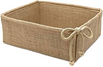 Decorative Burlap Basket Storage Bin Organizer Made of Jute Fabric for Rustic Farmhouse Decor, Rectangular, Reusable and C...