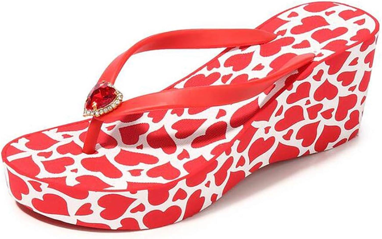 Beach Wedding Wedge Flip-Flops Sandals Rhinestone Decoration Fashion Causal High Heel Slippers,Red,38
