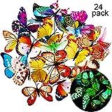 20 Stück Garten Schmetterlinge Stangen und 4 Stück Libellen Stangen Garten Ornamente für Hof Patio Party Dekorationen, Insgesamt 24 Stück (Leuchtend)