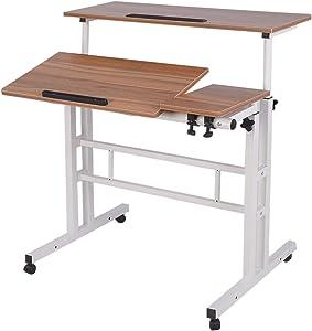 AIZ Mobile Standing Desk, Adjustable Computer Desk Rolling Laptop Desk Cart on Wheels Home Office Computer Workstation, Portable Laptop Stand Tall Table for Standing or Sitting, Oak
