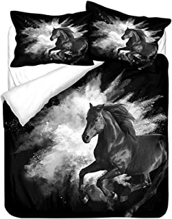 Blanco Gris Negro Naranja Funda Nórdica Caballo Juego de Cama Animales 3D Niño Chico Ado Hombre Microfibra Cremallera Suave y Transpirable (Estilo 2, 180x220 cm - Cama 105 cm)