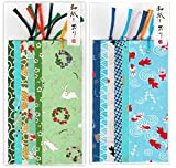 Yuzen Washi Japanese Traditional paper bookmark 12 pieces (6 green series + 6 summer style pattern)