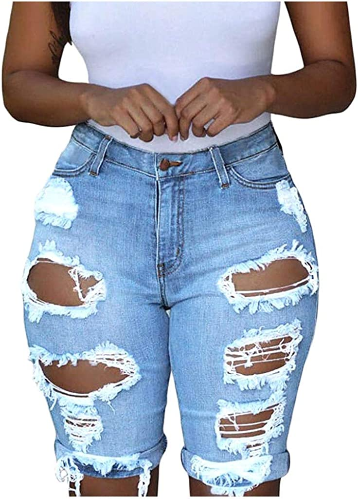 Fullfun_2019 Fashion Y2K Sexy Denim Jean Shorts for Women, High Waist Ripped Hole Washed Distressed Short Jeans