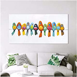 HHXX9 Wall Art Canvas Painting Animal Picture Posters Prints Home Decor Birds On Wire No Frame 50X100Cm