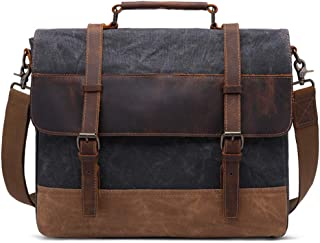 Men's Shoulder Bag, 15.6 Inch Oil Wax Canvas + Leather Laptop Briefcase Retro Fashion Tote Messenger Bag,Green,42CM*11CM*35CM