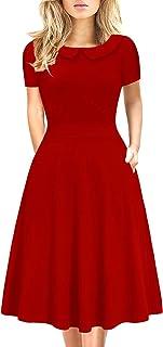 فستان قطني انيق بتصميم ايه لاين عتيق مطبوع عليه ازهار للنساء مع جيوب مناسب والارتداء الكاجوال 978
