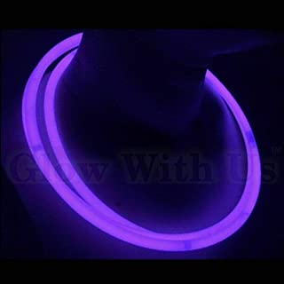"Glow Sticks Bulk Wholesale Necklaces, 100 22"" Purple Glow Stick Necklaces. Bright Color, Glow 8-12 Hrs, Connector Pre-Atta..."