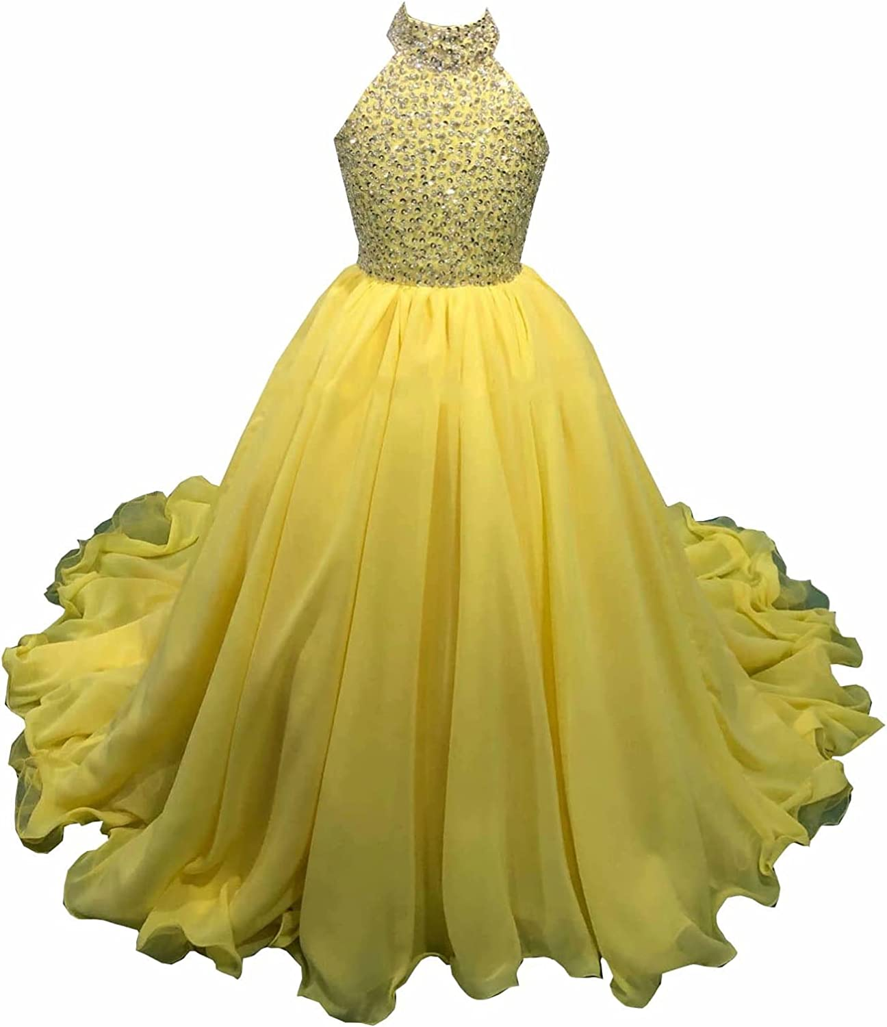 Mollybridal High Neck Chiffon Toddler Pageant Prom Formal Dresses for Little Girls Cupcake Beaded Rhinestones A line