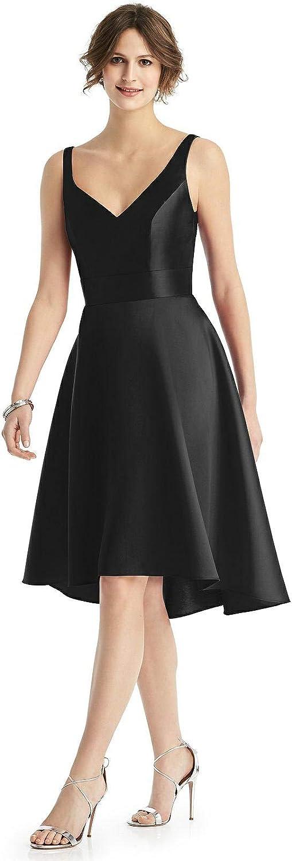 Yilis Women's VNeck Aline High Low Satin Bridesmaid Dresses Short Formal Party Dress with Pockets
